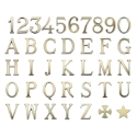 Picture of Bronze letters and numbers for gravestones. Roman model. White and Golden finishing