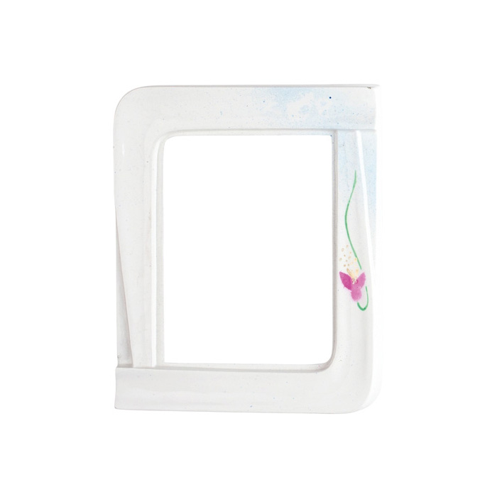 Cornice porta foto rettangolare bianca decorata iris for Cornice bianca foto
